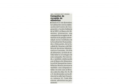 Diario de Burgos. REMAX ABC campaña recogida de alimentos