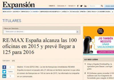 Expansión. REMAX España alcanza las 100 oficinas en 2015
