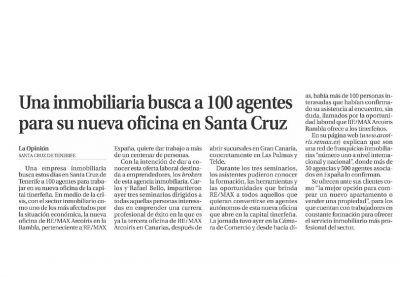 La Opinión de Tenerife. REMAX Arcoiris Rambla busca 100 agentes inmobiliarios