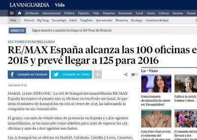 La Vanguardia. REMAX España alcanza las 100 oficinas en 2015