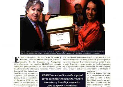 Metros 2. REMAX recibe el premio Franquicias 2011